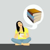 Klipart przedstawia dziewczynę z książką siedzącą po turecku a nad nią dymek z książkami.