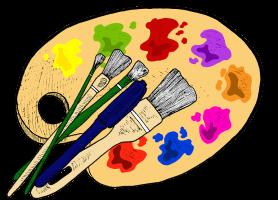 Na rysunku namalowana paleta malarska z kilkoma pędzlami.