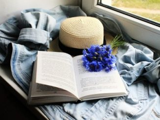 Na zdjęciu parapet okna w pociągu a na nim otwarta książka kapelusz słomkowy i bukiet chabrów
